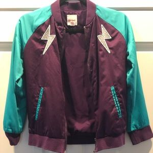 Cat and Jack girls purple and teal bomber jacket